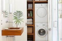 Concealed laundry in bathroom ideas