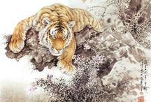 Japanische Tiger gezeichnet