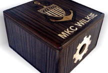Military Hat Boxes / Handmade wooden Military hat boxes. I make hat boxes any size, any woods, and personalize them with woodburned, laser engraved, inlaid lettering and images. Any thing is possible at www.TreeToBox.com
