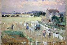 Paintings of washing / Paintings of laundry hanging on lines. My character Ginny in Kurinji FLowers makes a habit of painting washing lines - as do I!