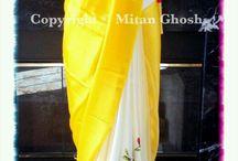 saree with plain and print