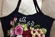 Silk ribbon embroidery and bag with ribbon embroidery