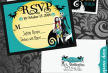Nightmare Before Christmas Wedding Invitations! / What's this?! What's this?! EUREKA! This ghoulishly cool Nightmare Before Christmas Wedding invitation set is just what you have been searching for! Authentic NBC characters juxtaposed against the classic swirly hilltop moonlit backdrop, with Jack and Sally in a loving embrace ready to exchange their vows, this Nightmare wedding design is perfect for your upcoming NBC theme celebration!