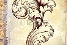 filigrana floral scroll marco diseño