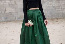 A woman in a skirt