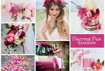 Pink yarrow wedding