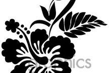 Silhouette bloemen en planten