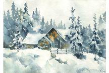 зима живопись