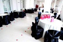 Black universal satin for fashion show party