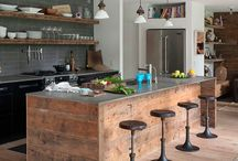 Kitchen design / Recycled wood island bench