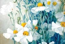 Flowers in Teal Mint Turquoise