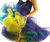 Mardi Gras Petticoat Skirt / Gorgeous 3 Layer 3 Color Organza Petticoat for Mardi Gras. Kelly Green, Yellow and Purple. Full, and FUN  Knee Length