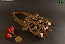 brass home decor / collection of brass lamps, brass table top, brass wall hooks, brass wall hangings, brass collectibles