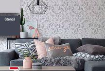 Florais, Árvores e Ramos - Stencils decorativos Para Parede