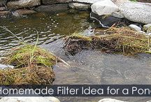 Pond Waterfall - Steps for buiding a Rock Waterfall / How to build a Pond waterfall. DIY instructions with illustrations. Waterfall spillway, pond liner, stacking stones tips, waterfall filter, wall waterfall and more.