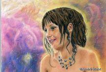 Portraits humains aux pastels secs / Peintures portrait humains, hommes, femmes, enfants, personnes avec chiens, chats, chevaux etc.....