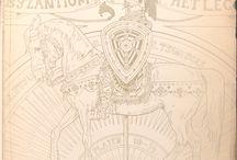 """Byzantium / Illustrazioni raffiguranti diverse classi di soldati e personaggi di spicco del Basileia Rhōmaiōn prese dalla collezione """"The Vinkhuijzen Collection of Military Costume Illustration"""""""