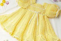 vestidos al crochet bebés y niñas. .