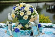 Marine Wedding Theme / satoriartandeventdesign.com  #marine #blue #turquoise #seagulls #shells #seaside #design #decor #weddings #eventdesign #weddingdesign #collection #vase #candles #events #theme #vintage #handmade #handpainted #rentals #exquisite #luxury #tablescape #table #decorations