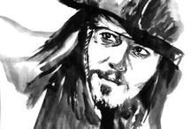 Cinema art / Sumi-e paintings of actors, singers and movie characters. More paintings @ www.pechanesumie.com. Enjoy!