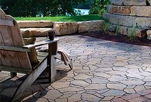 Patio & Pavers / A fine collection of natural stone and manufactured brick and ledgerstone designed in knee walls, kitchen cabinets, patios and stepping stone.
