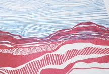 Wonky Organic Lines / Inspiration for and finished fabrics for Gerrie Congdon's theme for The Printed Fabric Bee.