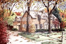My Art/ Pen and Ink / Architectural rendering done in pen and Ink on illustration board. Artwork by Mary Palmer All Rights Reserved  www.marypalmerartist.com