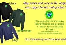 Re-Scape Store! / Re-Scape has tee shirts and hoodies available in special campaigns! High Quality materials with our logo and designs!