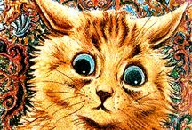 Louis Wain - Cats / Louis Wain (1860 – 1939) was an English artist best known for his drawings, which  featured anthropomorphised large-eyed cats and kittens.