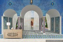 Moorish style / The exquisite interior decorations we produce are made on a 1mm layer of rollable plaster, a completely handmade backing and they are installed directly on site.