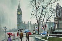 Rainy day paintings / Some of my rainy umbrella pictures