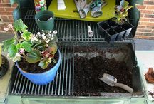 Creative Potting Benches / These creative potting bench ideas are here to inspire! It's winter and excited for gardening in spring! Starting to built a potting bench and cleaning up the tools in anticipation!