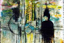 Mixart / Créations de tableaux en s'inspirant d'un artiste pour le fond et y intégrer une image d'un autre artiste