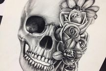 Doodshoofd tatoeage ontwerp
