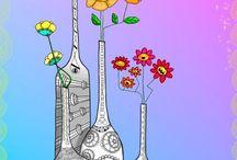 Zentangle vases