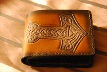 Thor Hammer Veg tanned wallet, custom made, Brown leather , Celtic, Norway, Bifold for men, Custom
