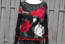 Upcycled cloutuing / #Upcycled #clothing  #Romantic #Clothing #handamde #fashion #women #boho #gypsy #textile #textileart #designer #wearable