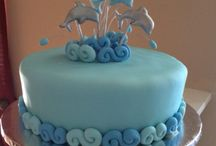 Dolphins cake, cookies, cupcakes and cakepops