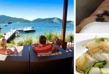 Great escapes / from Picton it is just a 30 minute scenic boatride and then experience a  package of your choice - from Taittinger champagne and degustation dinners to indulgent spa treatments, luxury cruises or fishing charters, wine tours or bird watching, there's a whole lot to do in the Queen Charlotte Sound