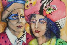 Cheryl Bridgart's -Paintings, some have 3-D applied embroidery. / Images created from drawings in my dream diary--what do my dreams mean? Endless dream inspired creations.