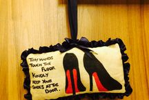 Door hanging / Always wanted to put up a 'Remove Shoes' sign at the door. What better way than to hang a beautiful hand crafted and painted door hanging in Jute.