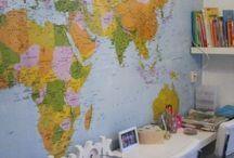 Behang wereldkaart kinderkamer