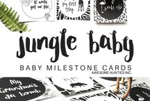 Baby Milestone Cards | Awesome Aunties Inc / Cute, whimsical, gender neutral baby milestone cards. Download, print and give.
