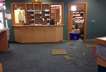 """Buffalo Public Library / A new floor for the Buffalo Public Library.  We removed damaged vinyl and installed commercial carpet tiles.  The tiles are 24"""" x 24"""" installed in a 1/4 turn pattern"""