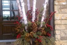 Christmas decorations with birch trees