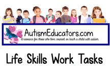 Autism Life Skills Work Tasks / Classroom effective learning materials for students with autism.  AutismEducators.com donates to autism awareness and gives back to Special Needs classrooms around the world.