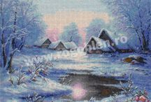 Peisaje de iarna / Modele de goblen