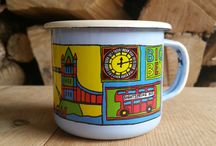 LONDON Enamel Mugs / our #London cup makes a great #souvenir and memorabilia sold by enamelcottage.com