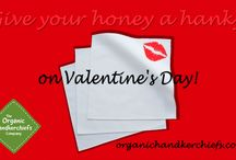 Give your honey a hanky on Valentines Day! / Take the eco way out and give your honey a set of 3 organic handkerchiefs on February 14th!
