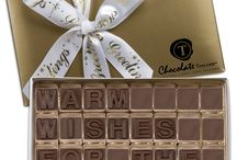 SEASON'S GREETINGS / ChocolateText 32 piece box Warm-Wishes-For-The-Holidays-with imprinted ribbon.